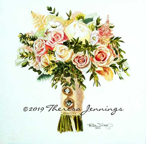2019 Perry Wedding Bouquet - Watercolor